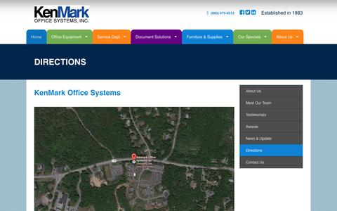 Screenshot of Maps & Directions Page kenmarkoffice.com - Kenmark Office - Directions | Cape Cod Authorized Sales & Service of Office Equipment, Copiers, Printers - Saivin, Konica Minolta | Office Solutions, Office Furniture, Office Supplies | Mashpee, Cape Cod, MA, MASS - captured Oct. 15, 2018