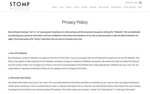 Screenshot of Privacy Page stomp-models.com - Privacy Policy - Stomp Models - captured Jan. 11, 2016