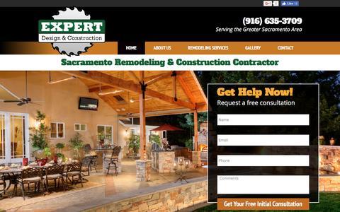 Screenshot of Home Page expertdc.com - Sacramento Home Remodeling & Construction – Expert Design & Construction - captured Nov. 14, 2016