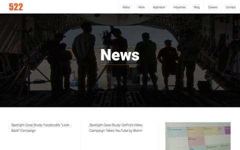 Screenshot of Press Page 522productions.com - News | 522 Productions - captured Jan. 10, 2016