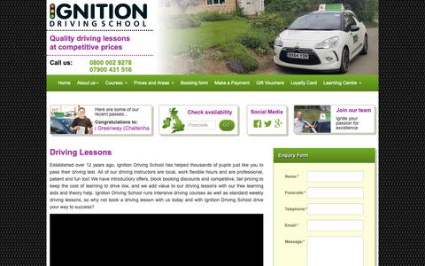 Screenshot of Home Page driving-lesson.co.uk - Ignition  Driving Lessons | Driving Schools | Intensive Driving Courses - captured Oct. 22, 2018