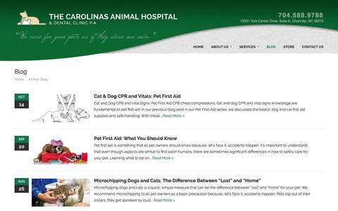 Screenshot of Blog carolinasanimalhospital.com - Blog - The Carolinas Animal Hospital & Dental Clinic - captured Oct. 25, 2016