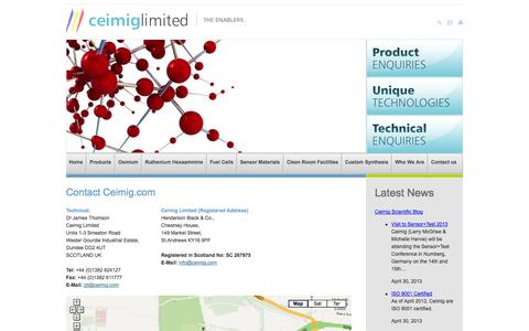 Screenshot of Contact Page ceimig.com - Custom Synthesis, Multi Stage Synthesis, Novel Organometallic in the UK from Ceimig - captured Oct. 2, 2014