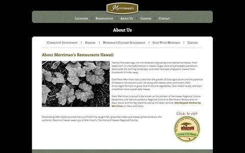 Screenshot of About Page merrimanshawaii.com - About - Merriman's Hawaii Restaurant - captured Oct. 27, 2014
