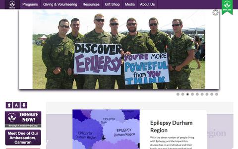 Screenshot of Menu Page epilepsydurham.com - Online Donations - Epilepsy Durham Region - captured Nov. 9, 2016