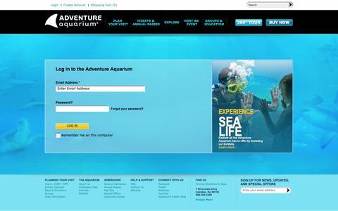 Screenshot of Login Page adventureaquarium.com - Log in to Adventure Aquarium - captured Sept. 24, 2014