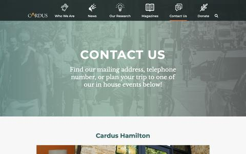 Screenshot of Contact Page cardus.ca - Locate Us - Cardus - captured Sept. 27, 2018