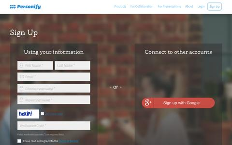 Screenshot of Signup Page personifyinc.com - Sign Up | Personify - captured Dec. 25, 2015