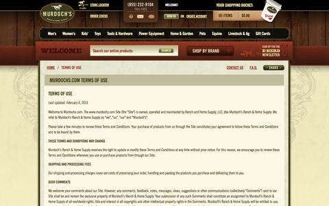 Screenshot of Terms Page murdochs.com - Murdoch's – Terms of Use - captured Sept. 18, 2014