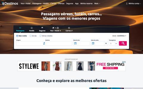 Screenshot of Home Page edestinos.com.br - eDestinos.com.br - Passagens Aéreas, Reserva de Passagem Aérea - captured Sept. 22, 2018