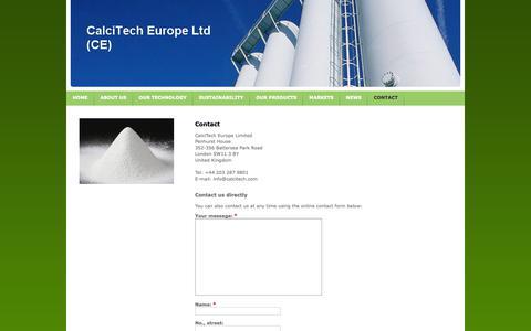 Screenshot of Contact Page calcitech.com - Contact - CalciTech Europe - Specialty Calcium Carbonate - captured Nov. 9, 2018