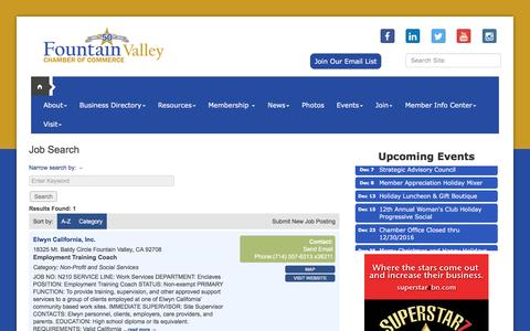 Screenshot of Jobs Page fvchamber.com - Job Search - Fountain Valley Chamber of Commerce, CA - captured Nov. 25, 2016