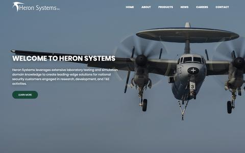 Screenshot of Home Page heronsystems.com - Heron Systems | Defense Contractor in Maryland and Virginia - captured Sept. 28, 2018