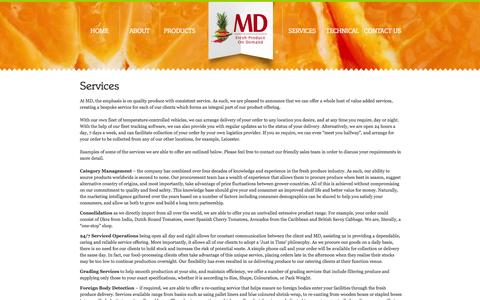 Screenshot of Services Page md-ie.com - Services | MD - captured Oct. 4, 2014