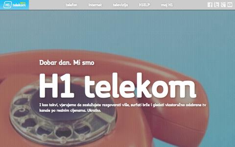 Screenshot of Home Page h1telekom.hr - H1 Telekom d.d. - captured Oct. 9, 2014
