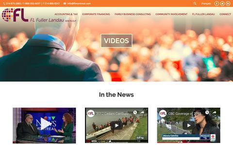 Screenshot of Press Page flmontreal.com - In the News – FL Fuller Landau - captured Nov. 14, 2018