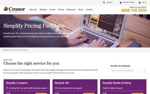 Screenshot of Pricing Page croner.co.uk - Pricing | Croner Group - captured Sept. 30, 2018