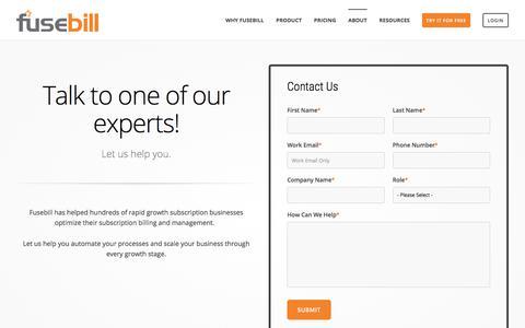Screenshot of Contact Page fusebill.com - Contact Fusebill. Your Subscription Billing & Management Experts - captured April 18, 2018