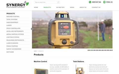 Screenshot of Products Page synergypositioning.co.nz - Products    Authorised Topcon Dealer   Synergy Positioning Systems - captured Nov. 15, 2017