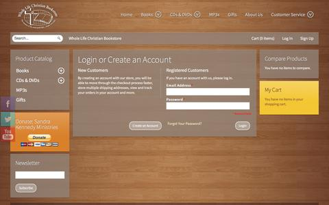 Screenshot of Login Page wholelifebookstore.com - Magento Commerce - captured March 16, 2016