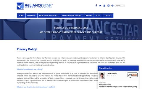 Screenshot of Privacy Page reliancestar.com - Privacy Policy - Reliance Star Payment Services - captured May 5, 2016