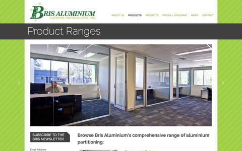 Screenshot of Products Page brisaluminium.com.au - Aluminium Skirting & Partitions   Bris Aluminium   Office Fit Outs - captured Sept. 30, 2014