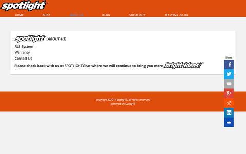 Screenshot of About Page spotlightgear.com - About Us - Spotlight™ - captured Nov. 4, 2014