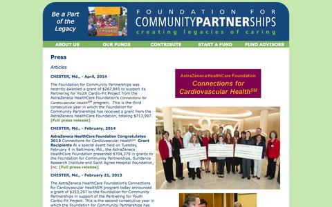 Screenshot of Press Page creatinglegacies.org - Press - captured Sept. 16, 2014