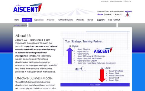 Screenshot of About Page aiscent.com - Aerospace, Defense, Supply Chain Management Services - captured Feb. 4, 2016