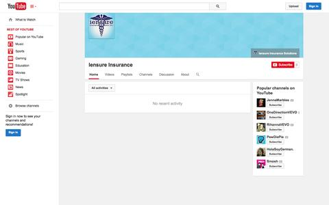Screenshot of YouTube Page youtube.com - Iensure Insurance  - YouTube - captured Oct. 27, 2014
