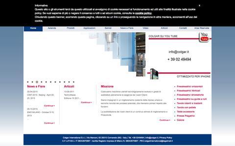 Screenshot of Home Page colgar.it - Colgar - Costruzione Macchine Utensili - captured Oct. 14, 2015
