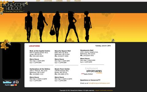 Screenshot of Locations Page honeycombhideout.com - HoneyComb Hideout - A Boutique Like No Other! - captured June 22, 2016
