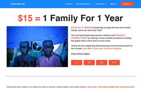 Screenshot of Home Page generosity.org - Water Charity Focused On Ending The Clean Water Crisis - Generosity.Org - captured Oct. 16, 2019