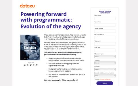 Screenshot of Landing Page dataxu.com - Powering Forward With Programmatic: Evolution Of The Agency - captured Oct. 23, 2017