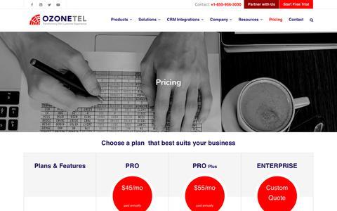 Screenshot of Pricing Page ozonetel.com - Pricing – Ozonetel - captured Jan. 6, 2020