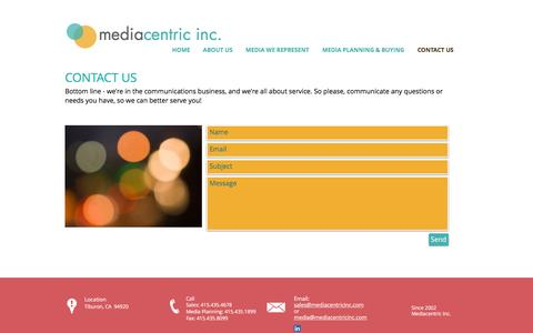 Screenshot of Contact Page mediacentricinc.com - mediacentricinc.com| Contact Us - captured Aug. 10, 2016