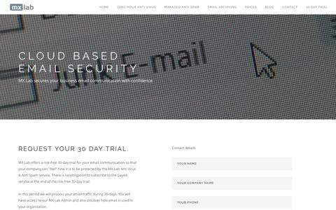 Screenshot of Trial Page mxlab.eu - MX Lab - Cloud based email security 30 day trial - captured May 25, 2017