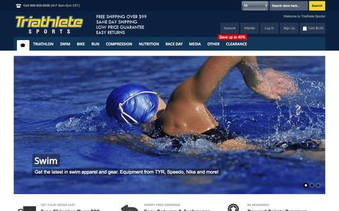 Screenshot of Home Page triathletesports.com - Triathlon Gear and Triathlon Wetsuits at Triathlete Sports - captured Sept. 19, 2014