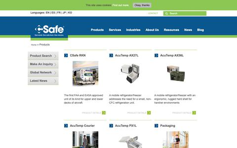 Screenshot of Products Page csafeglobal.com - Products | CSafe Global - captured Nov. 4, 2018