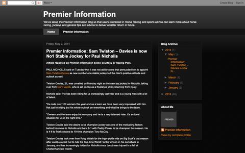 Screenshot of Home Page premier-information.blogspot.com - Premier Information - captured Oct. 21, 2018