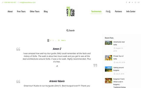 Screenshot of Testimonials Page freesofiatour.com - Testimonial reviews - Our happy tourists | Free Sofia Tour - captured Aug. 22, 2018