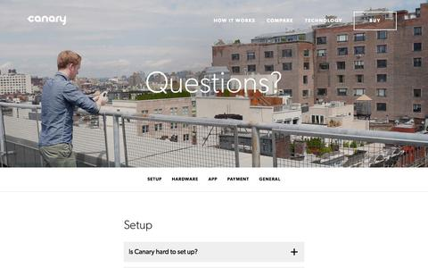 Screenshot of FAQ Page canary.is - Canary - You have security questions, we have a FAQ - captured Dec. 17, 2014