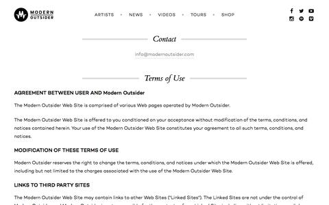 Screenshot of Contact Page Terms Page modernoutsider.com - General Info | Modern Outsider - captured Feb. 22, 2016