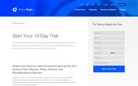 Screenshot of Trial Page devicemagic.com - Trial Account | Mobile Forms from Device Magic - captured Sept. 25, 2014