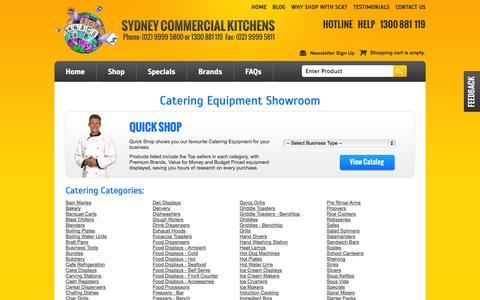 Screenshot of Products Page sydneycommercialkitchens.com.au - Showroom - captured Nov. 2, 2014