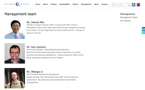 Screenshot of Team Page chiralquest.com - Management_CHIRAL QUEST - captured Oct. 19, 2018