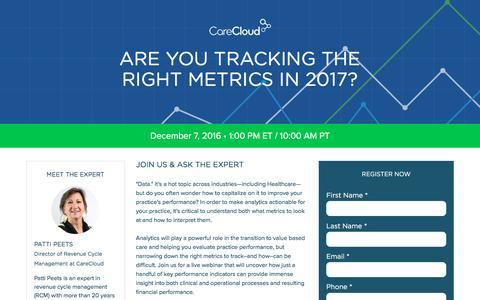 Screenshot of Landing Page carecloud.com - Practice Management | EHR Software | CareCloud - captured Feb. 10, 2017