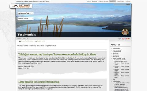 Screenshot of Testimonials Page rubyrange.com - Testimonials | Ruby Range Adventure - captured Oct. 7, 2014