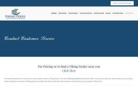 Screenshot of Support Page vikingpools.net - Customer Service - Viking Pool - captured Sept. 23, 2018