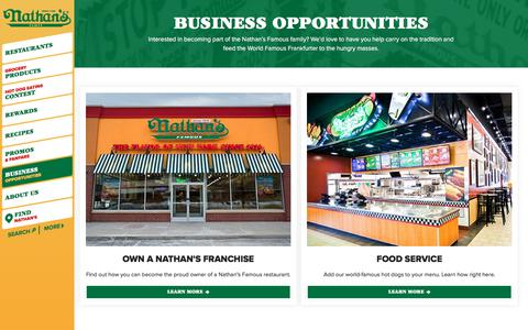 Screenshot of nathansfamous.com - Business Opportunities | Nathan's Famous - captured Jan. 18, 2018